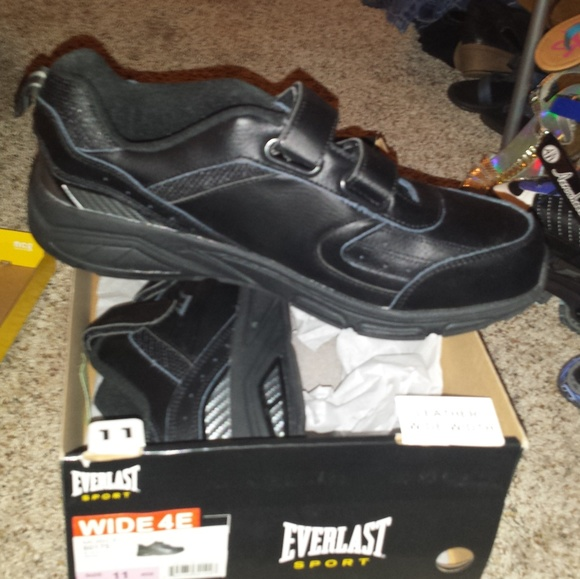 Everlast Shoes Black Size 11 Wide Real Leather Mens Sneakers
